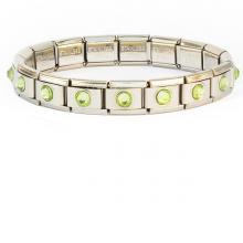 Браслет 18 звеньев со светло-зелеными кристалликами
