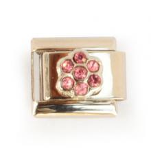 Звено браслета с розовым цветочком из страз