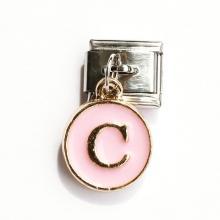 Звено с розовой подвеской с буквой C