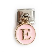 Звено с розовой подвеской с буквой E