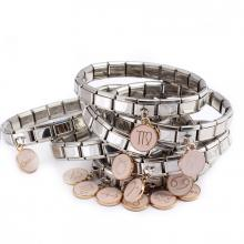Стартовый браслет с розовой подвеской - знаком зодиака